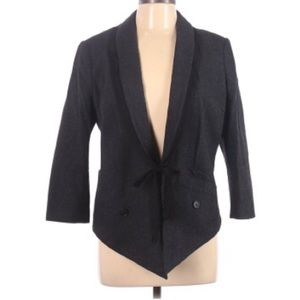 Edun Charcoal Gray Wool Blend Black Trim Blazer L